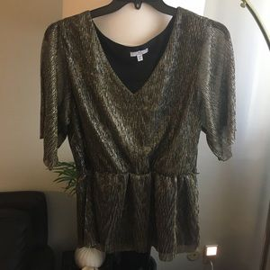 Halston Glittery Black and Gold Top